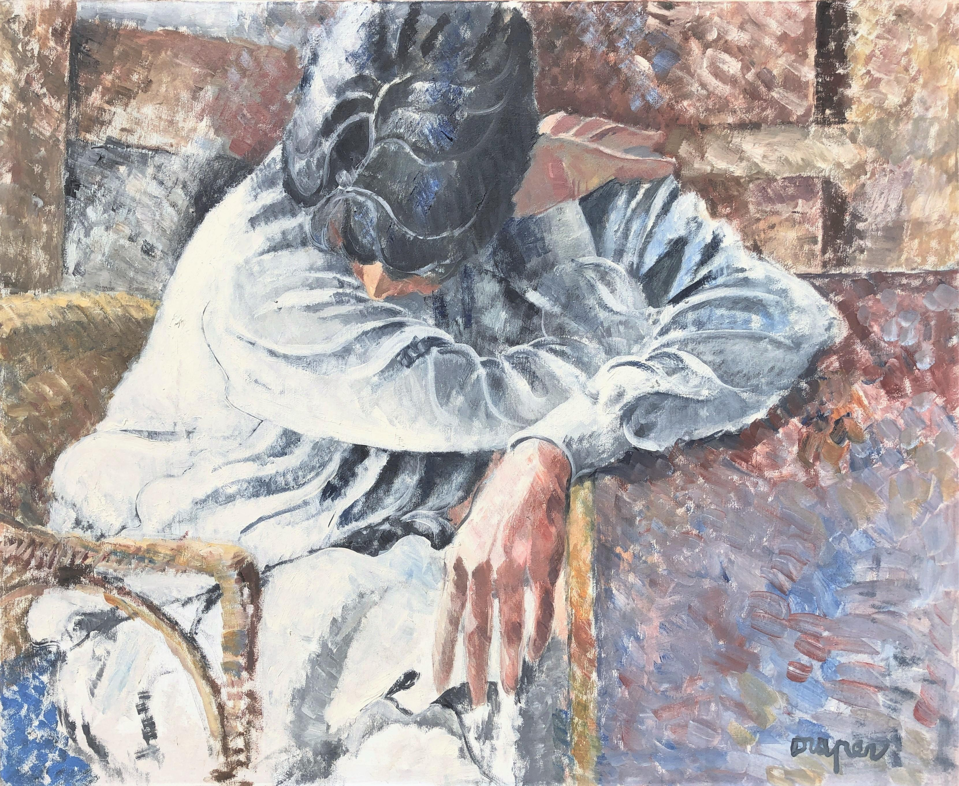 Melancholy female figure oil on canvas painting