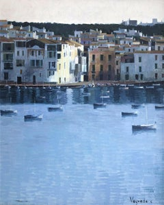 Cadaques view Spain seascape oil on canvas painting