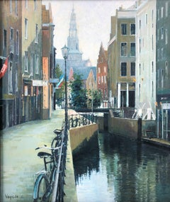 Vayreda Canadell Canal de Amsterdam view - original oil canvas painting