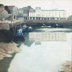 Honfleur River Port France original oil on canvas painting