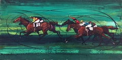 Horse race original oil on canvas painting