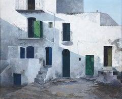 Ibiza street view original luminist oil on canvas painting