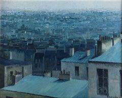 Paris view France oil on canvas painting urbanscape