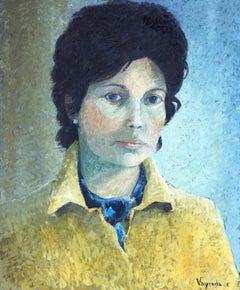 Portrait of Maria Rosa original oil on canvas painting