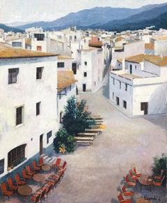 Tossa de Mar view Spain original oil on canvas painting