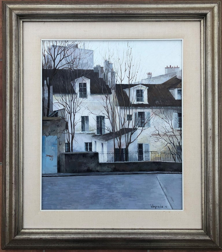 Vayreda Canadell Paris neighborhood urban landscape oil on canvas painting - Painting by Josep Maria Vayreda Canadell