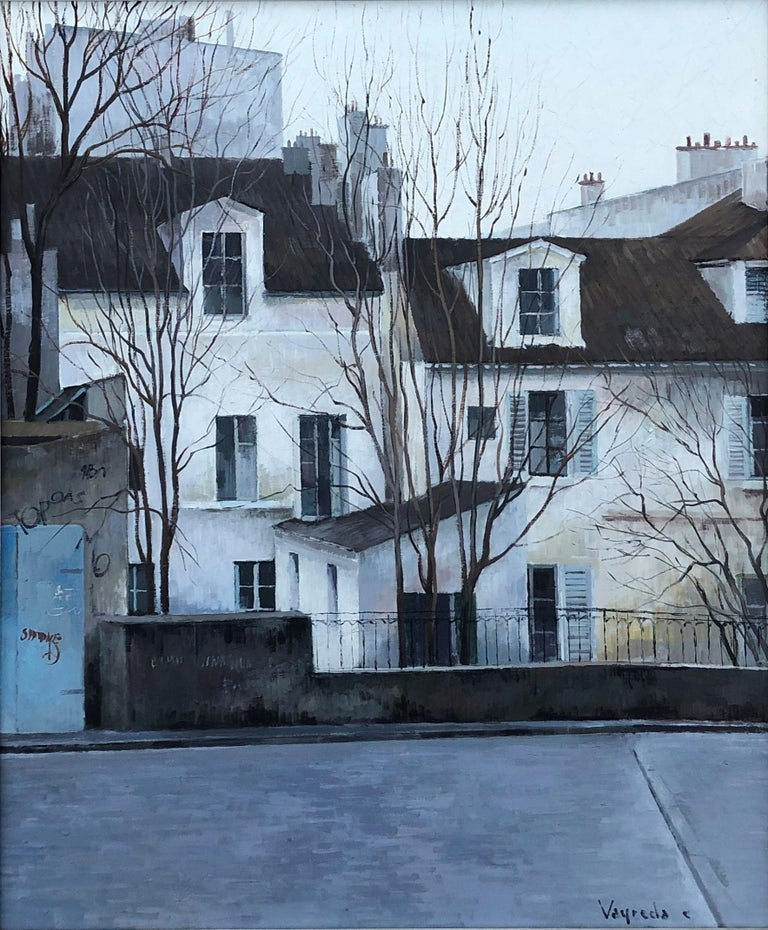 Josep Maria Vayreda Canadell Landscape Painting - Vayreda Canadell Paris neighborhood urban landscape oil on canvas painting
