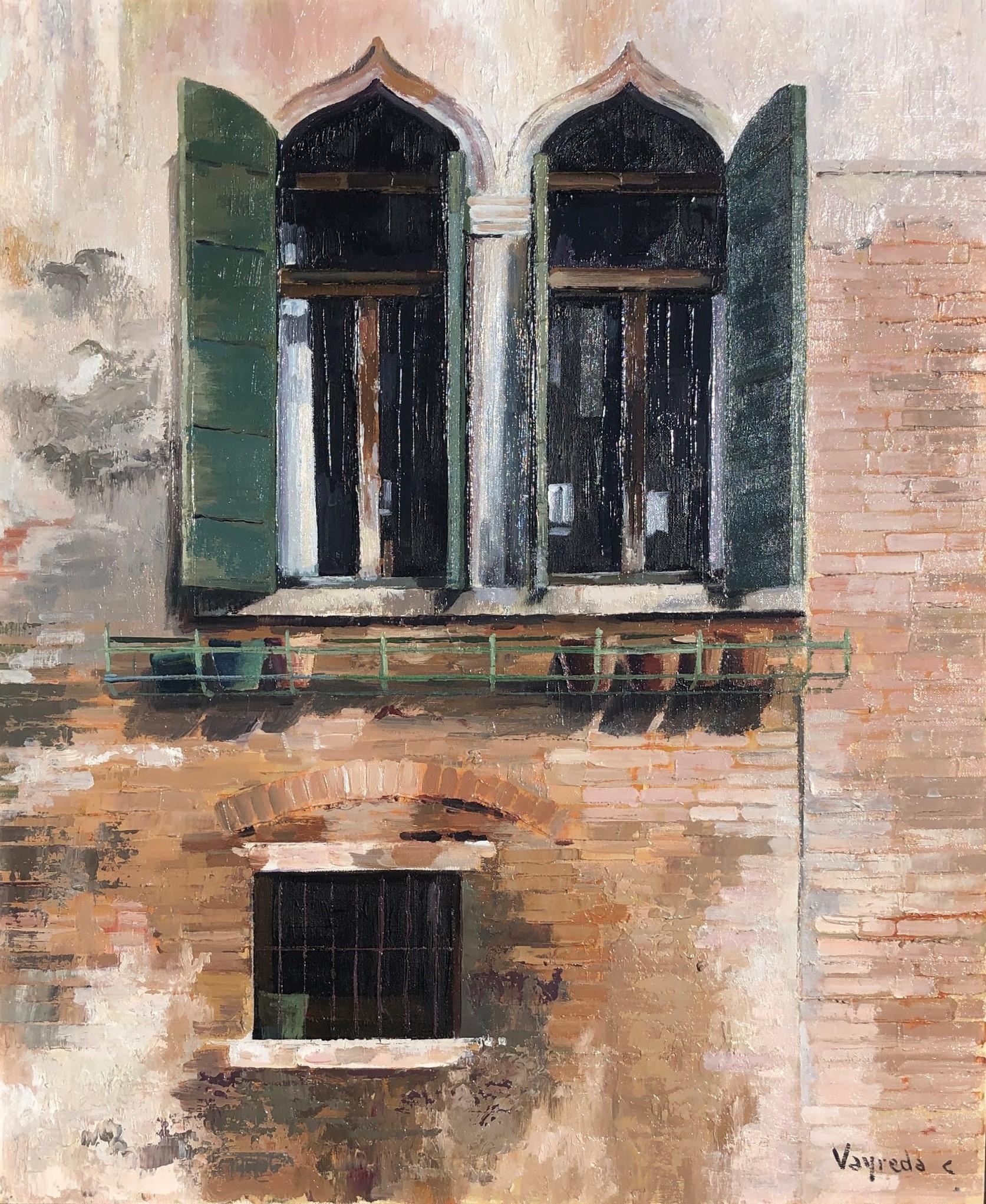 Venice window original oil on canvas painting