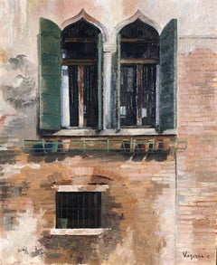 Venice window original oil on canvas painting