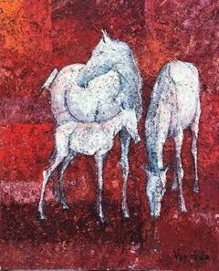 White horses original oil on canvas painting