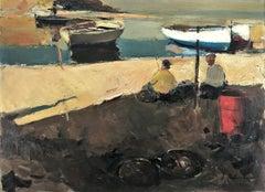 Spanish seascape Llansa oil on canvas painting
