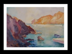 coast original watercolor paper expressionist painting