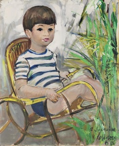 The boy in the rocking chair oil on canvas painting