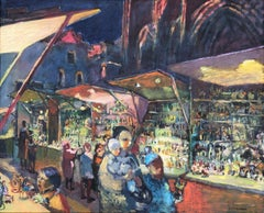 Christmas Fair Barcelona Spain oil on canvas urbanscape