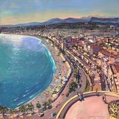 Promenade des anglais, Nice France oil on canvas seascape