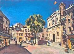 Santa Maria square Mataro Spain oil on canvas painting urbanscape