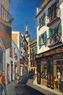 Sitges view Spain oil on canvas urbanscape