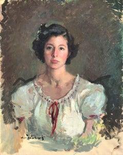 Female figure woman portrait oil on canvas painting