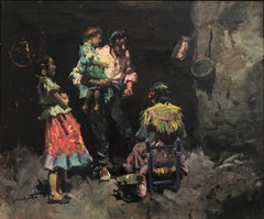 Gypsy family oil on canvas painting
