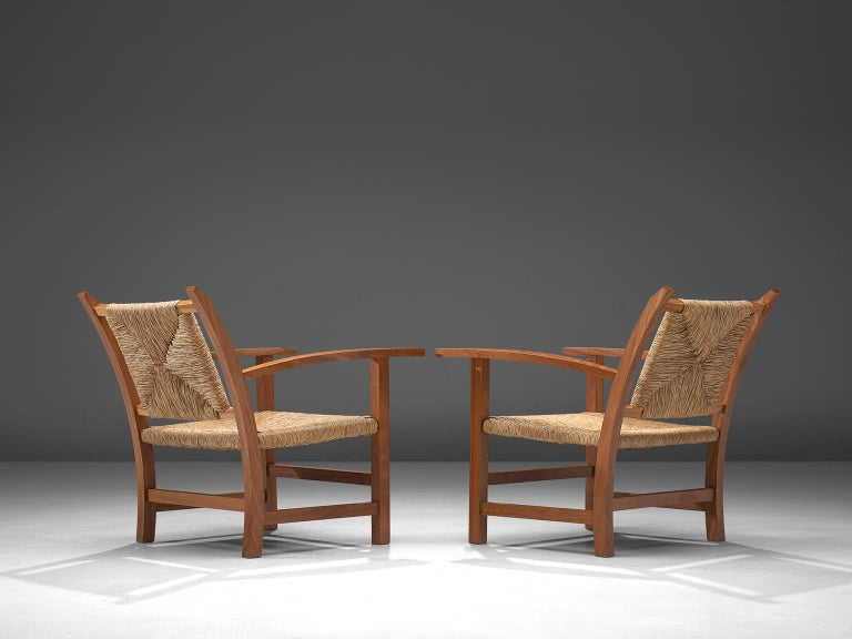 Mid-Century Modern Josep Torres Clave Armchairs in Oak and Cane For Sale
