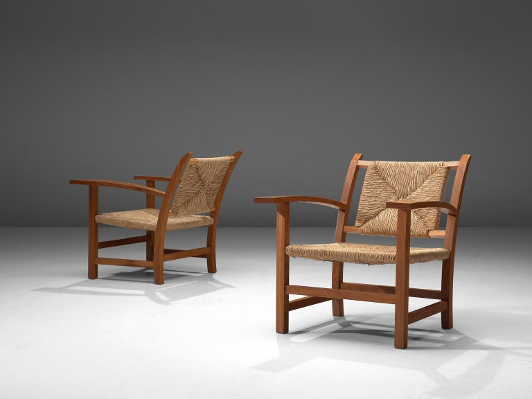 Spanish Josep Torres Clave Armchairs in Oak and Cane For Sale