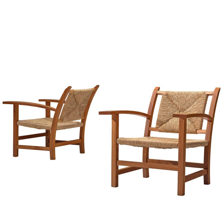 Josep Torres Clave Armchairs in Oak and Cane For Sale