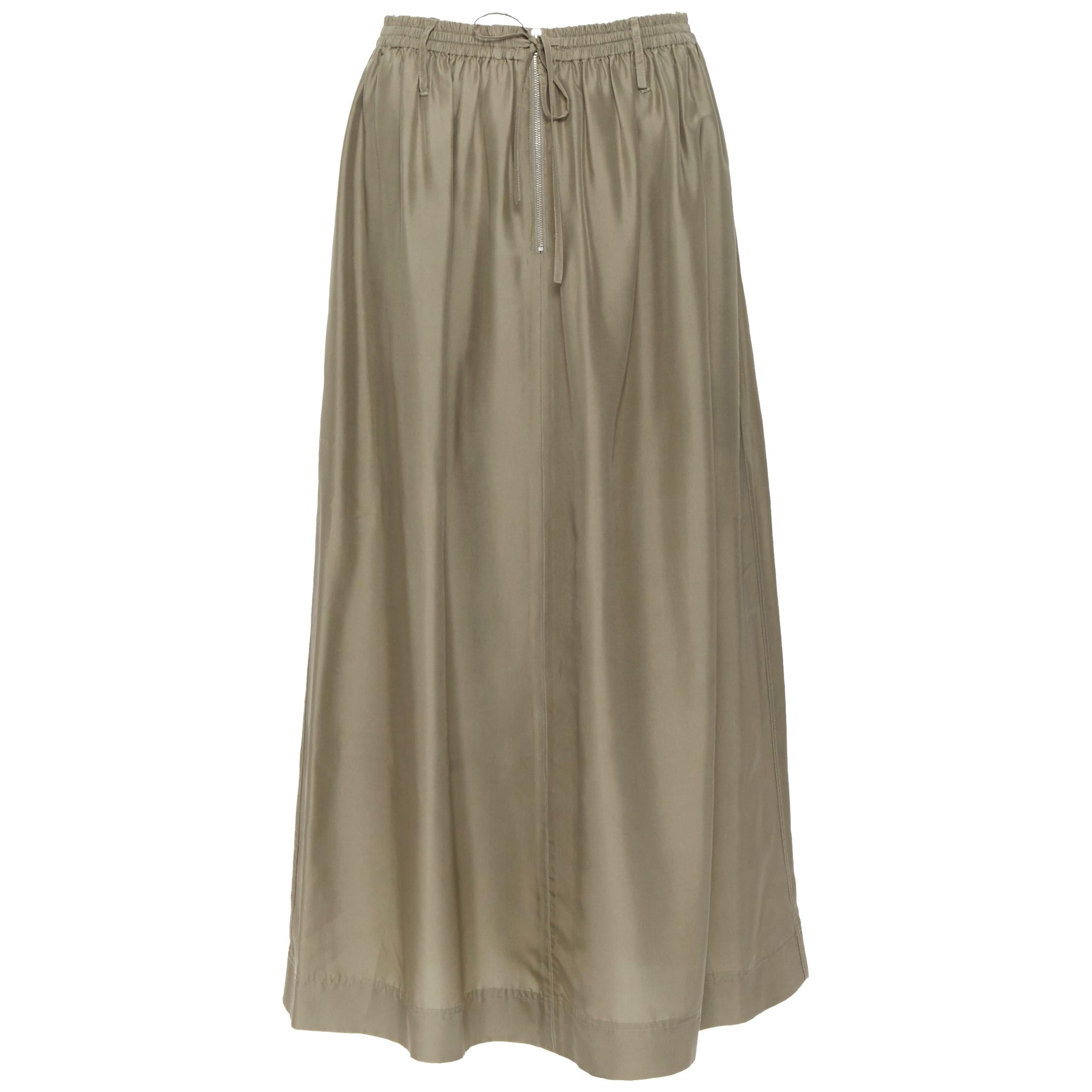 JOSEPH 100% silk muted grey elasticated drawstring zip detail midi skirt FR34 XS
