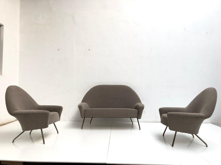 Mid-Century Modern J.A Motte '770' lounge set comprising pair lounge chairs & sofa, 1958, Restored For Sale