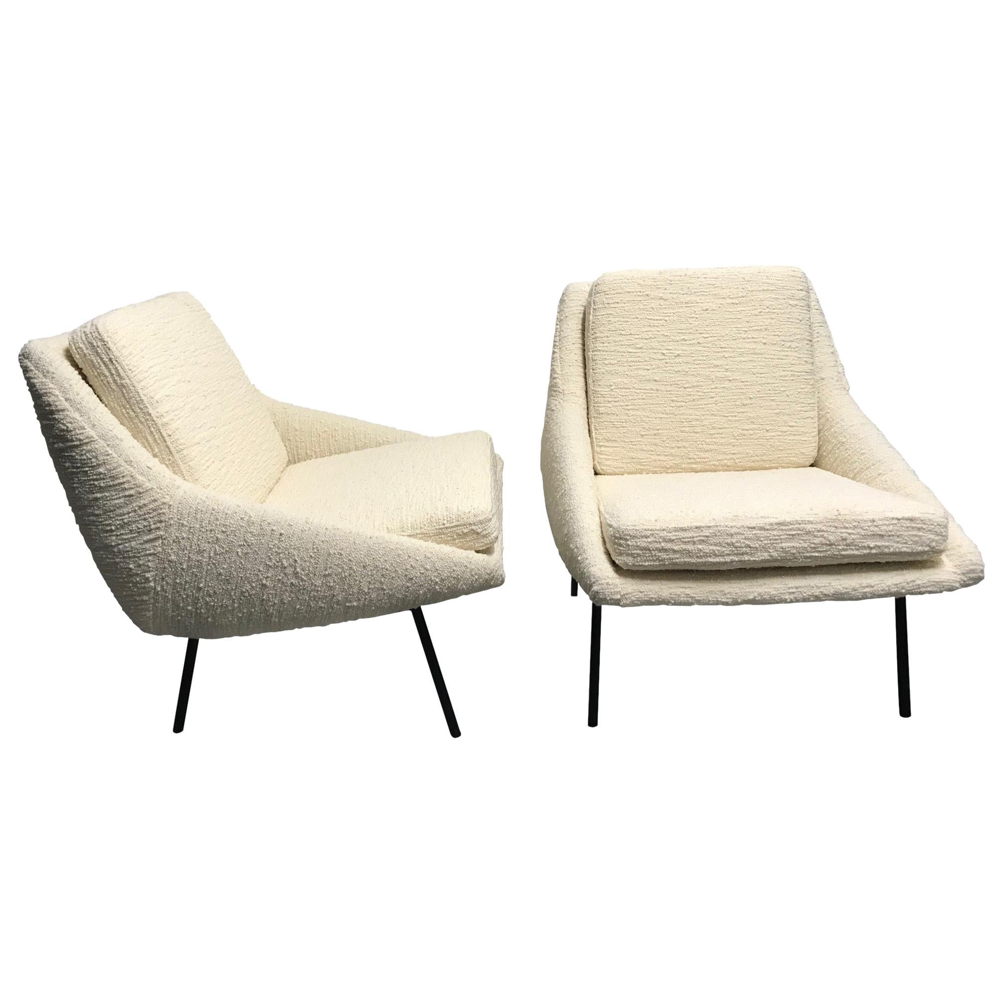 """Joseph-André Motte pair of armchairs """"800"""" for Steiner, France, 1950s"""