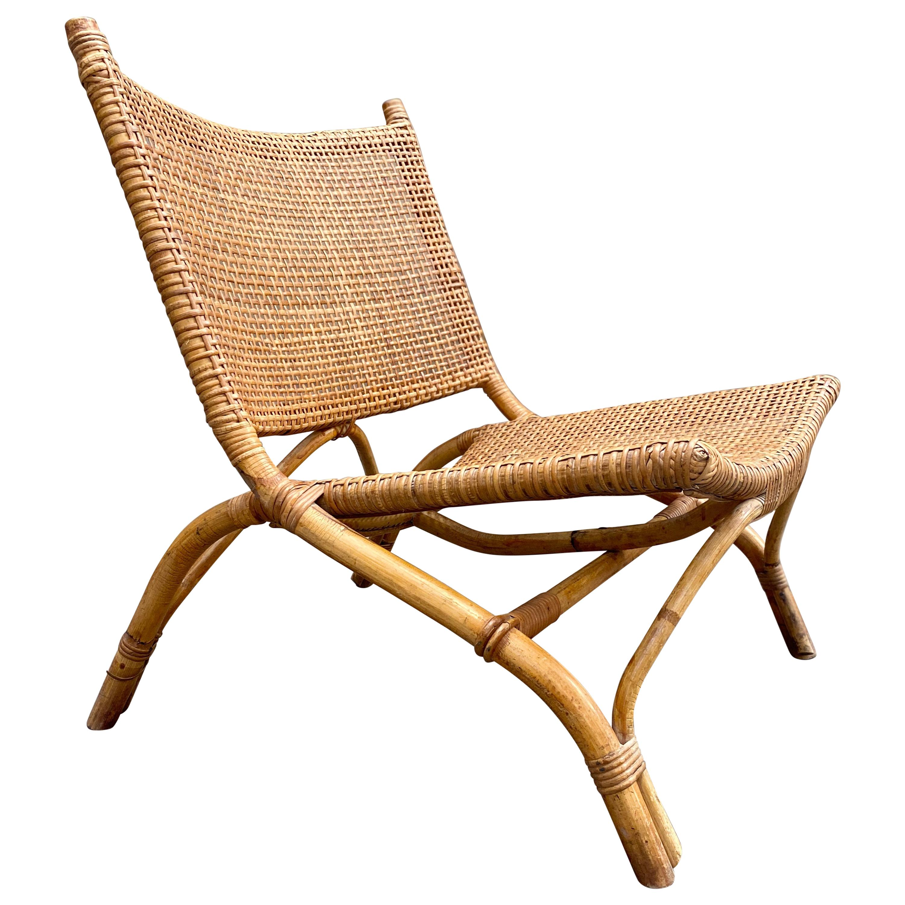 Joseph André Motte Saber Chairs in Rattan, 1954