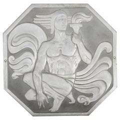 "Joseph Anthony Atchison Rare Art Deco Relief Panel ""Nude with Torch,"""