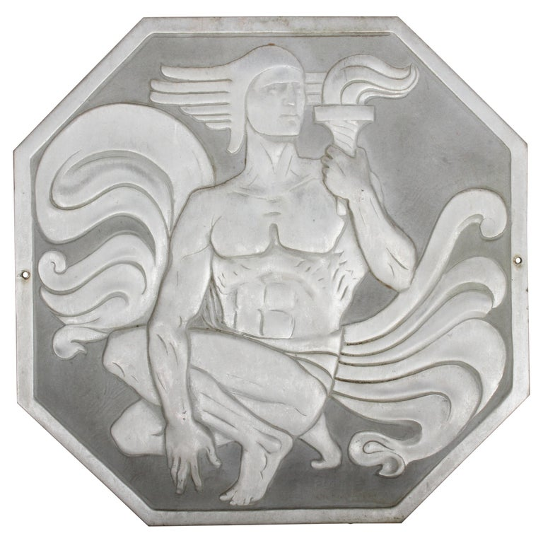 """Joseph Anthony Atchison Rare Art Deco Relief Panel """"Nude with Torch,"""" For Sale"""
