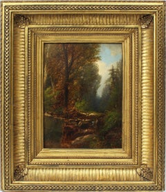 Antique American Hudson River School Forest Interior Waterfall Rare Oil Painting
