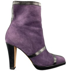JOSEPH AZAGURY Size 7 Purple Suede Black Stipe Ankle Boots