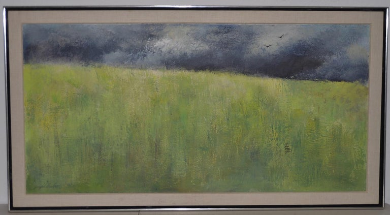 "Joseph Barber ""Wheatfield"" Original Oil Painting c.1960 - Brown Landscape Painting by Joseph Barber"