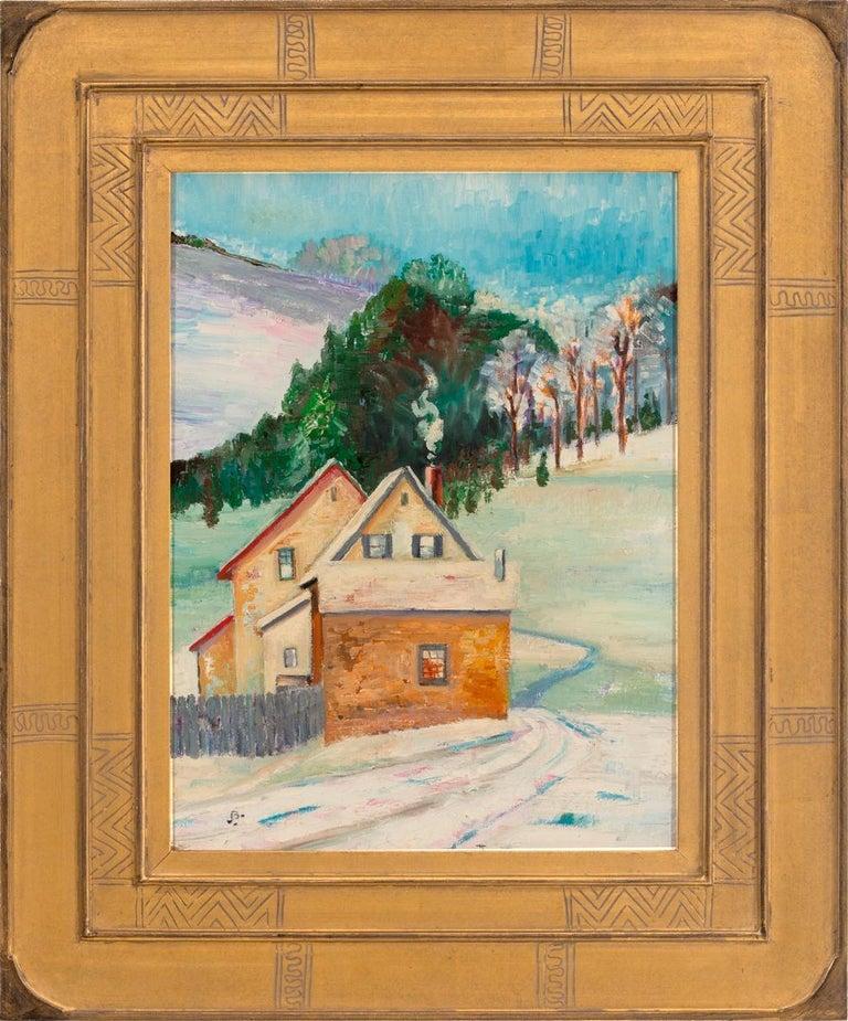 """Joseph Barrett Landscape Painting - """"Group of Old Houses, Buckingham"""""""
