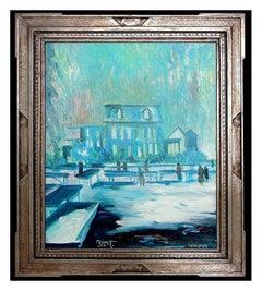 Joseph Barrett Original Oil Painting On Canvas Signed Winter Scene Landscape Art