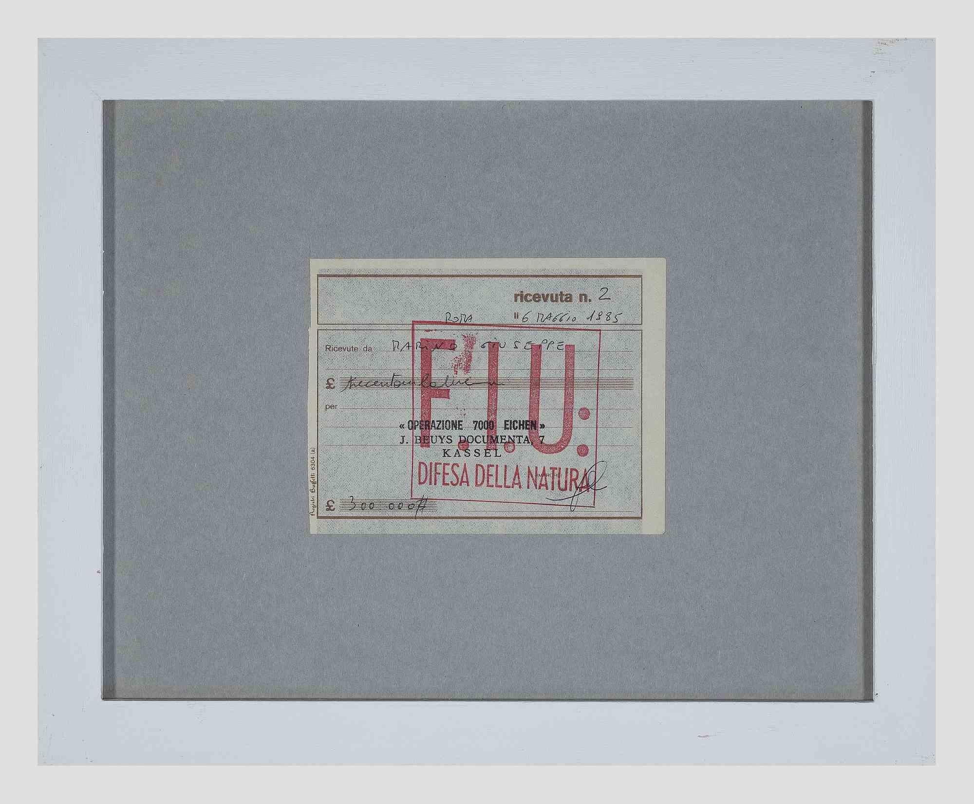 Operazione 7000 Eichen - Original Receipt by Joseph Beuys- 1984