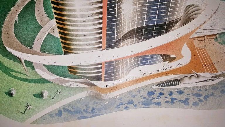 Hotel Futura  Illustration  - Futurist Painting by Joseph Binder