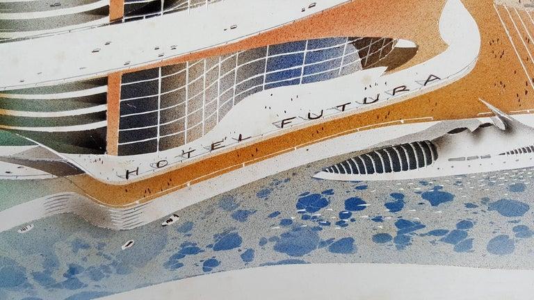 Hotel Futura  Illustration  - Beige Landscape Painting by Joseph Binder