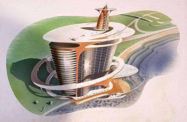 Joseph Binder Landscape Painting - Hotel Futura  Illustration
