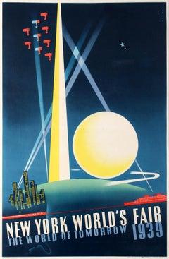 Original Vintage Art Deco Poster New York World's Fair Ft Modernist Architecture