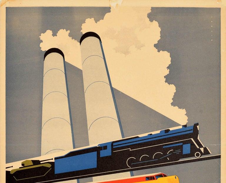 Original Vintage Poster Essential To Industry Defense Rail Trains Tanks Factory - Print by Joseph Binder