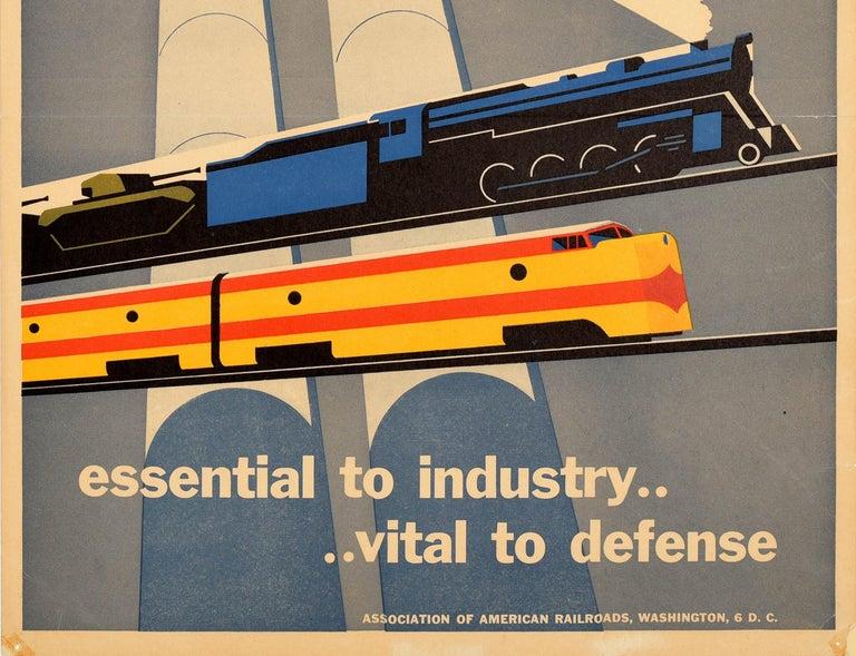 Original Vintage Poster Essential To Industry Defense Rail Trains Tanks Factory - Brown Print by Joseph Binder