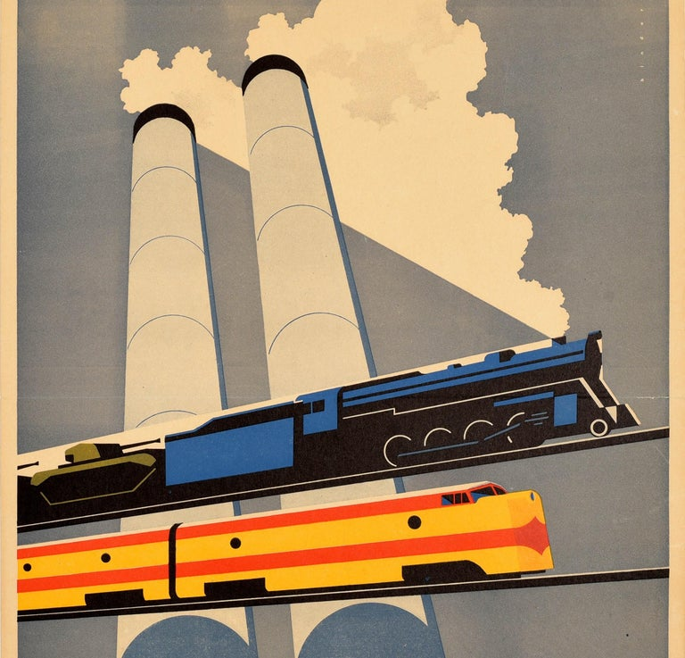 Original vintage propaganda poster issued by the Association of American Railroads Washington - Essential to Industry Vital to Defense - featuring a great design by Joseph Binder (1898-1972) of a steam train with a blue and black engine pulling