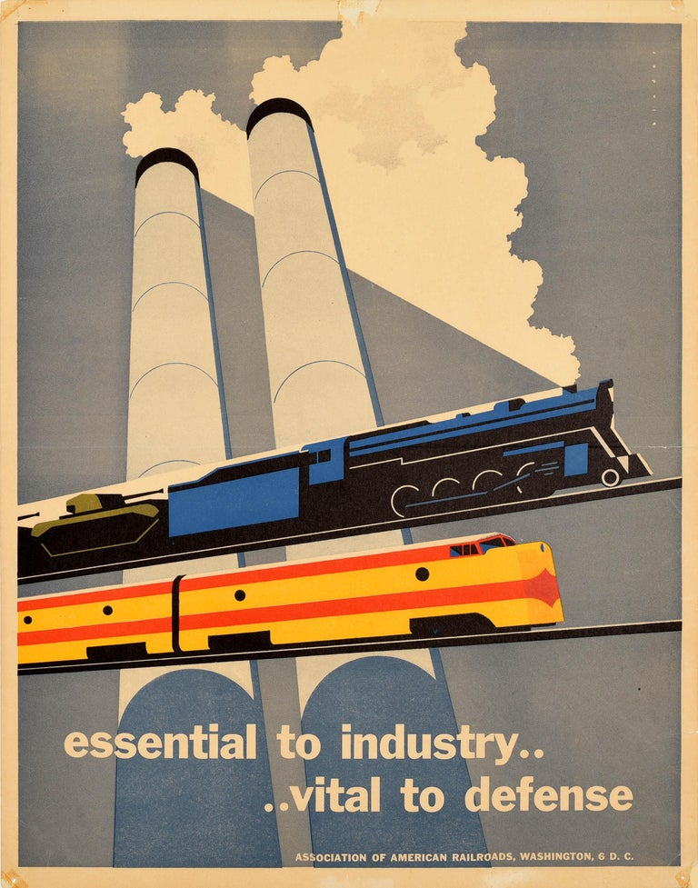 Joseph Binder Print - Original Vintage Poster Essential To Industry Defense Rail Trains Tanks Factory
