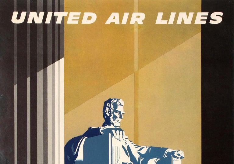 Original Vintage Travel Poster United Air Lines Washington D.C. Lincoln Memorial - Print by Joseph Binder