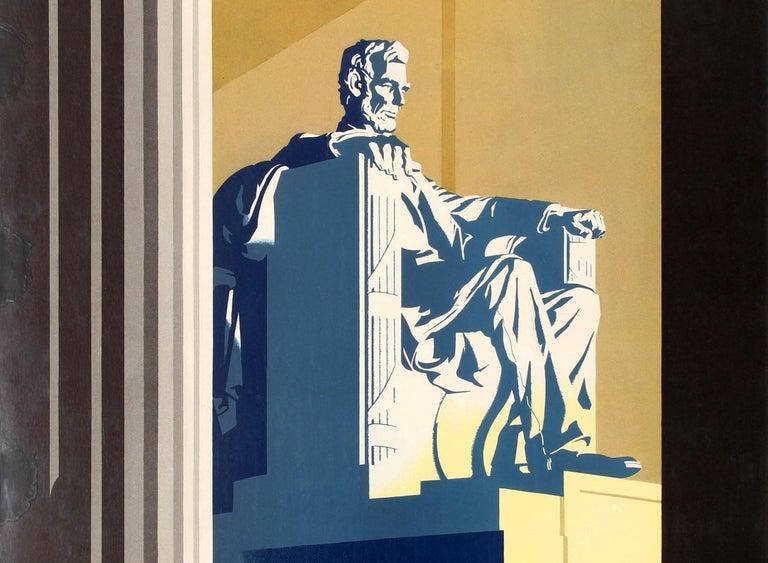 Original Vintage Travel Poster United Air Lines Washington D.C. Lincoln Memorial - Black Print by Joseph Binder