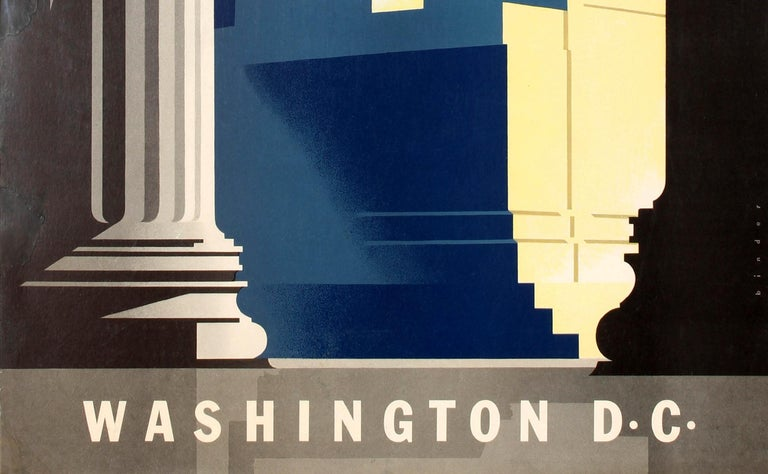 Original vintage travel poster for United Air Lines Washington D.C. Great artwork by Joseph Binder (1898-1972) featuring sunlight shining through the Lincoln Memorial pillars on the American politician Abraham Lincoln (1809-1865; President of the