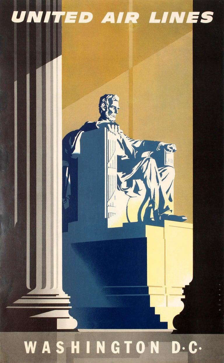 Joseph Binder Print - Original Vintage Travel Poster United Air Lines Washington D.C. Lincoln Memorial